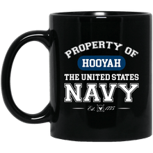 Load image into Gallery viewer, Designs by MyUtopia Shout Out:Property of  Hooyah US Navy Ceramic Coffee Mug,11 oz / Black,Ceramic Coffee Mug