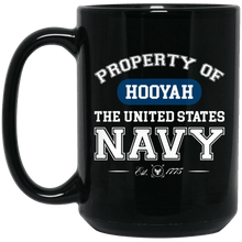 Load image into Gallery viewer, Designs by MyUtopia Shout Out:Property of  Hooyah US Navy Ceramic Coffee Mug,15 oz / Black,Ceramic Coffee Mug