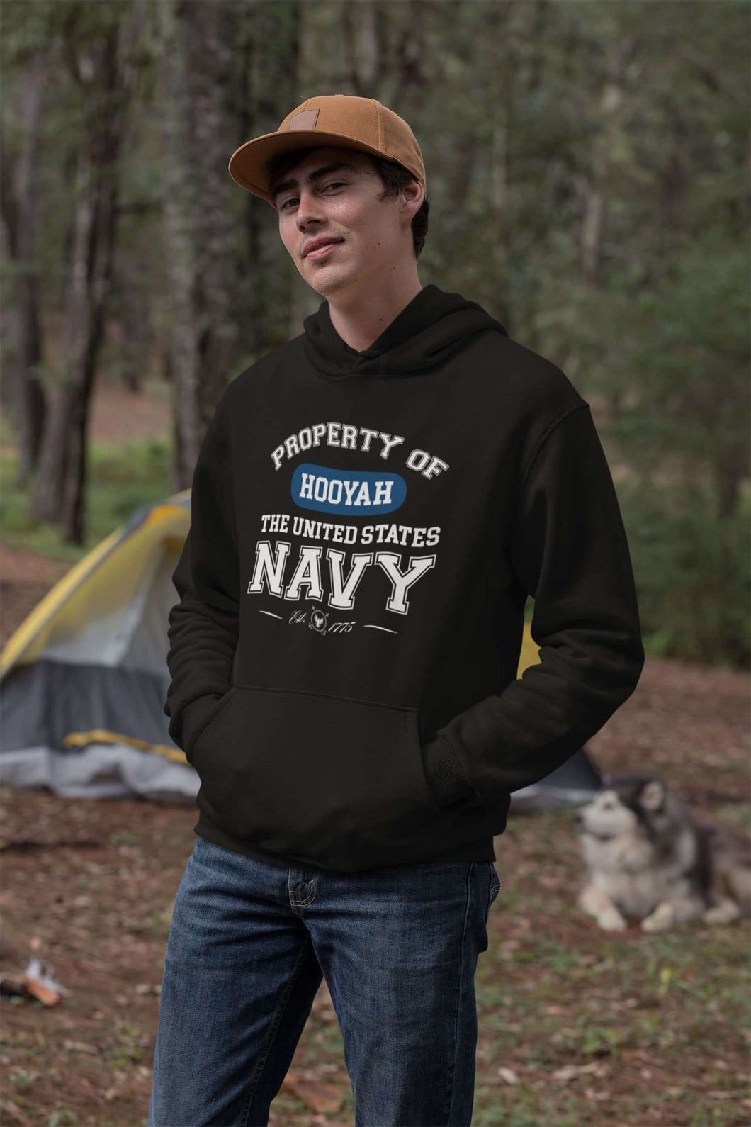 Designs by MyUtopia Shout Out:Property of  Hooyah US Navy Core Fleece Pullover Hoodie