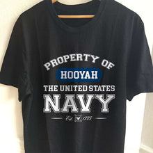 Load image into Gallery viewer, Designs by MyUtopia Shout Out:Property of  Hooyah US Navy Unisex Jersey Short-Sleeve T-Shirt