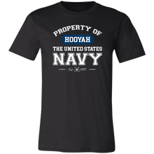 Load image into Gallery viewer, Designs by MyUtopia Shout Out:Property of  Hooyah US Navy Unisex Jersey Short-Sleeve T-Shirt,Black / X-Small,T-Shirts