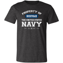 Load image into Gallery viewer, Designs by MyUtopia Shout Out:Property of  Hooyah US Navy Unisex Jersey Short-Sleeve T-Shirt,Dark Grey Heather / X-Small,T-Shirts
