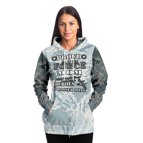 Designs by MyUtopia Shout Out:Proud Air Force Mom, I Raised My Hero Premium Pullover Fashion Hoodie,XS / Gray,Pullover Hoodie - AOP