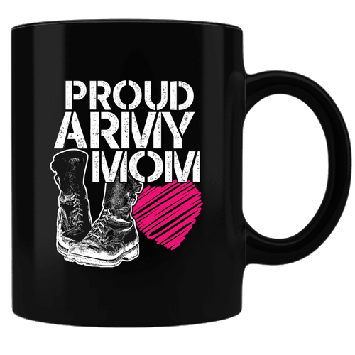 Designs by MyUtopia Shout Out:Proud Army Mom Black Coffee Mug,Black,Ceramic Coffee Mug