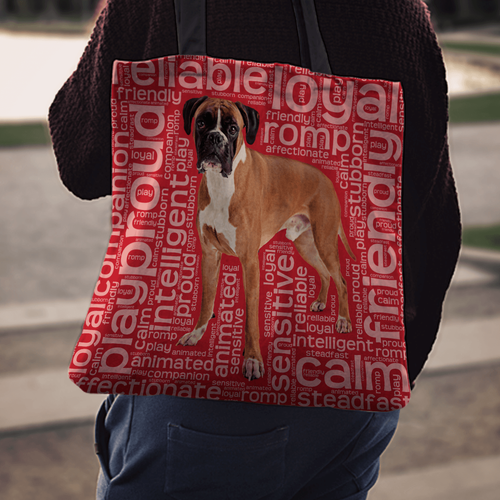 Designs by MyUtopia Shout Out:Proud Boxer Word Cloud Fabric Totebag Reusable Shopping Tote