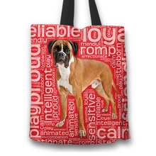 Load image into Gallery viewer, Designs by MyUtopia Shout Out:Proud Boxer Word Cloud Fabric Totebag Reusable Shopping Tote,Red,Reusable Fabric Shopping Tote Bag