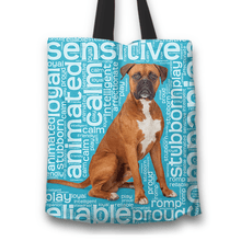Load image into Gallery viewer, Designs by MyUtopia Shout Out:Proud Boxer Word Cloud Fabric Totebag Reusable Shopping Tote,Blue,Reusable Fabric Shopping Tote Bag
