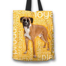 Load image into Gallery viewer, Designs by MyUtopia Shout Out:Proud Boxer Word Cloud Fabric Totebag Reusable Shopping Tote,Gold,Reusable Fabric Shopping Tote Bag
