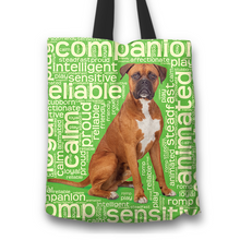Load image into Gallery viewer, Designs by MyUtopia Shout Out:Proud Boxer Word Cloud Fabric Totebag Reusable Shopping Tote,Green,Reusable Fabric Shopping Tote Bag