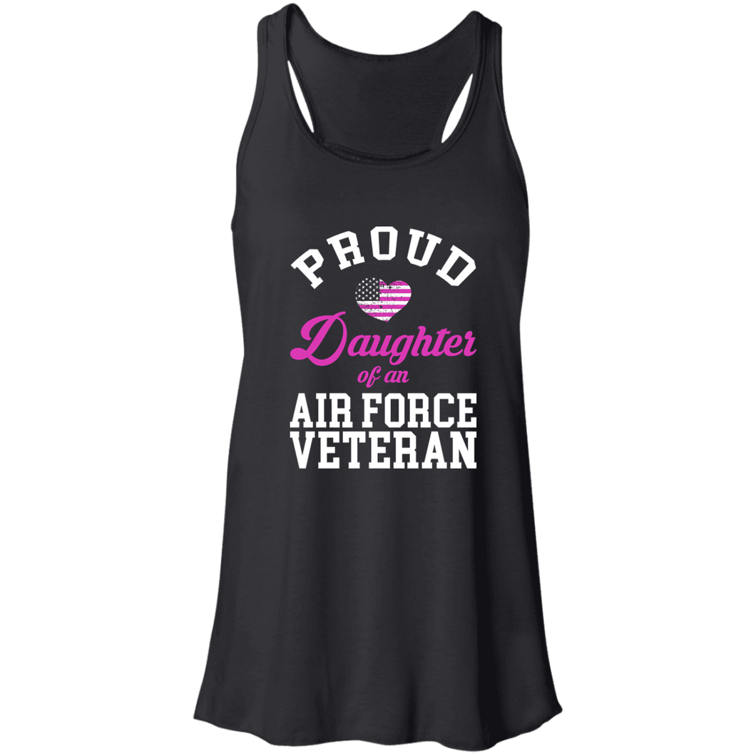 Designs by MyUtopia Shout Out:Proud Daughter of an Air Force Veteran Flowy Racerback Tank,X-Small / Black,Tank Tops