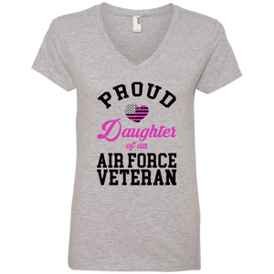 Designs by MyUtopia Shout Out:Proud Daughter of an Air Force Veteran Ladies' V-Neck T-Shirt,Heather Grey / S,Ladies T-Shirts