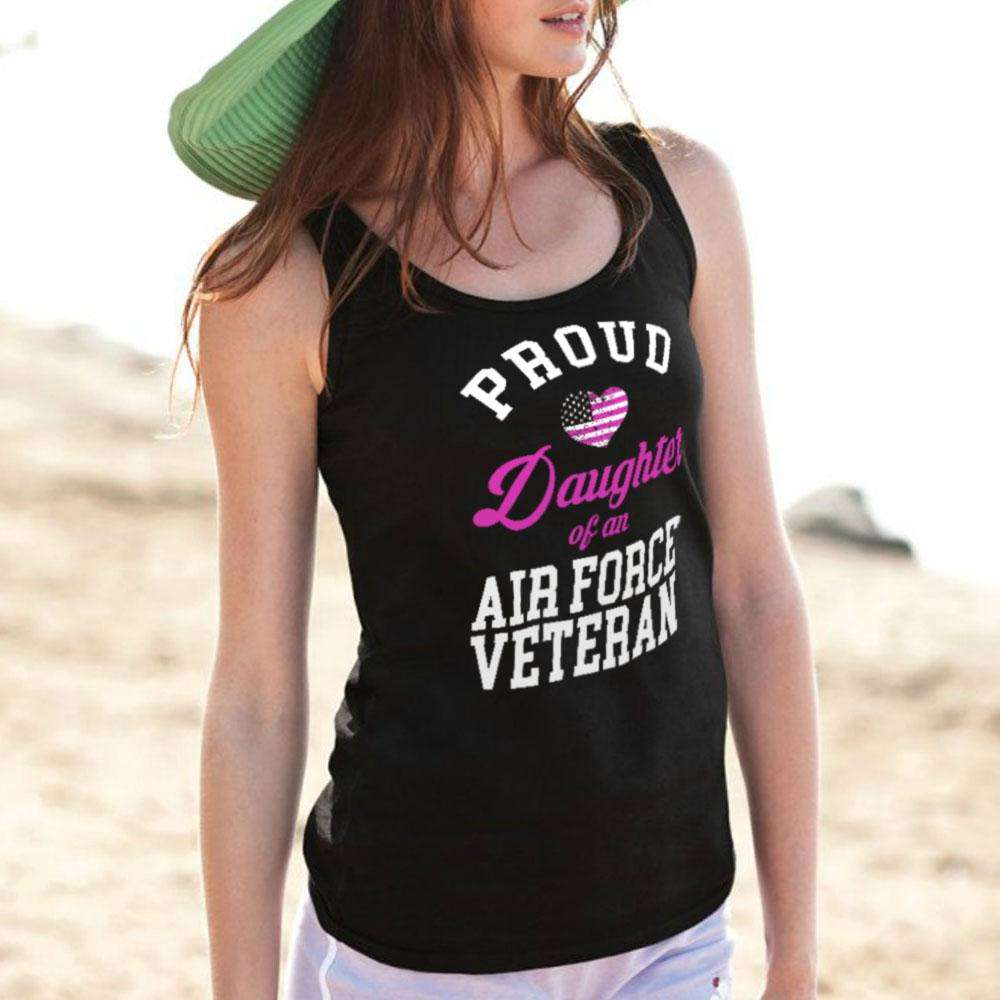 Designs by MyUtopia Shout Out:Proud Daughter of an Air Force Veteran Tank Top,Black / X-Small,Tank Tops