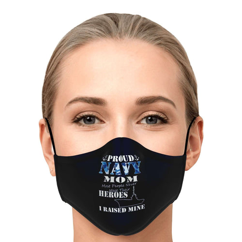 Designs by MyUtopia Shout Out:Proud Navy Mom Fitted Face Mask with Adjustable Ear Loops,Adult / Single / No filters,Fabric Face Mask