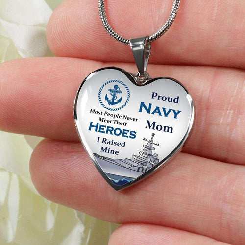 Designs by MyUtopia Shout Out:Proud Navy Mom I Raised My Hero, Keepsake Heart Pendant Necklace, Engrave Your Message on Back, Personalized Gift for Mom
