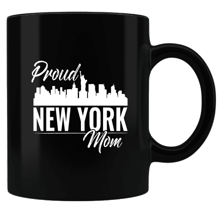 Designs by MyUtopia Shout Out:Proud New York Mom Black Coffee Mug,Black,Ceramic Coffee Mug