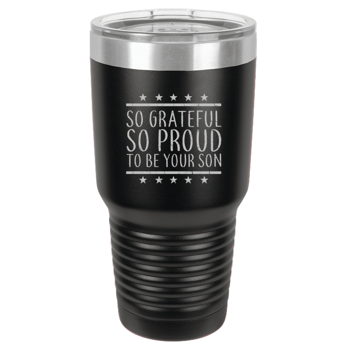 Designs by MyUtopia Shout Out:Proud To Be Your Son Engraved Polar Camel 30 oz Engraved Insulated Double Wall Steel Tumbler Travel Mug,Black,Polar Camel Tumbler