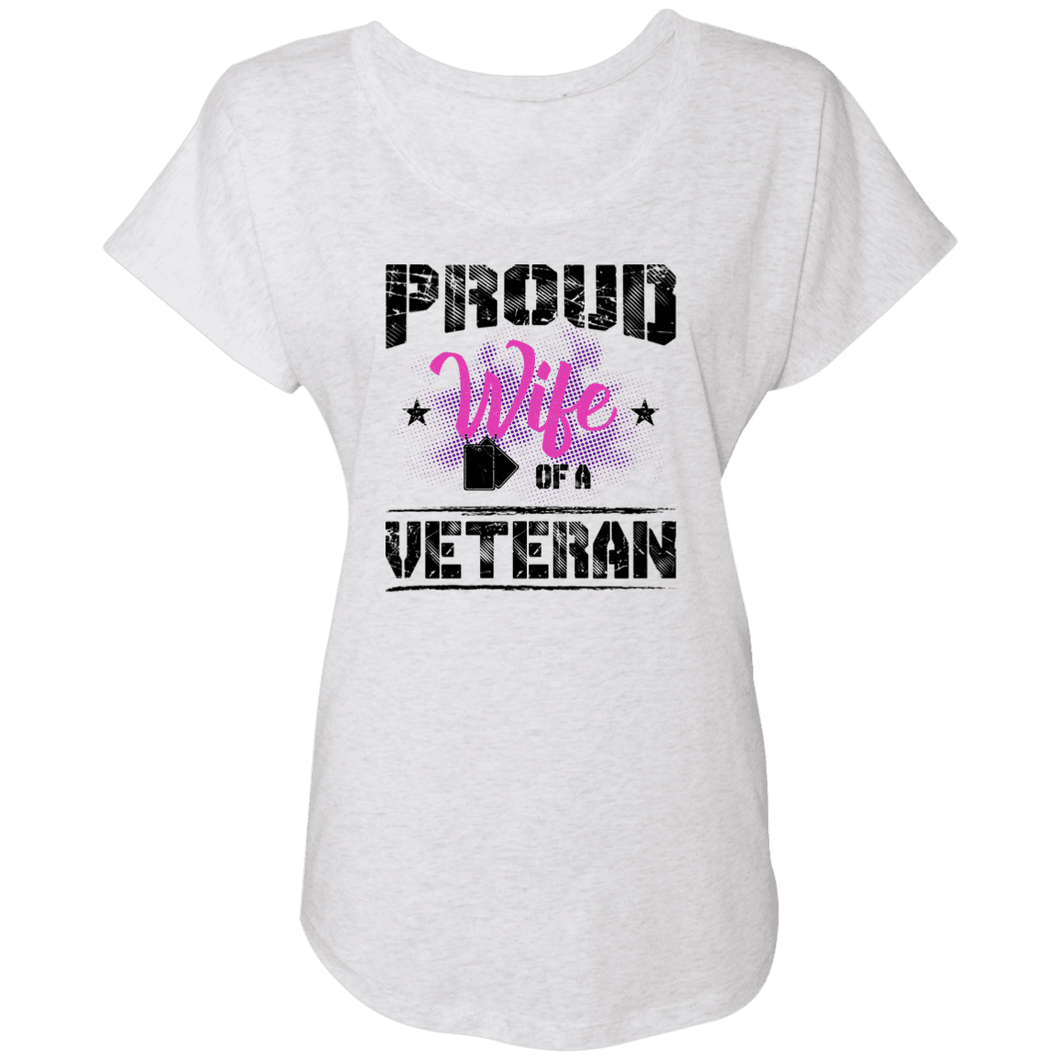Designs by MyUtopia Shout Out:Proud Wife of a Veteran Ladies' Triblend Dolman Shirt,X-Small / Heather White,Ladies T-Shirts