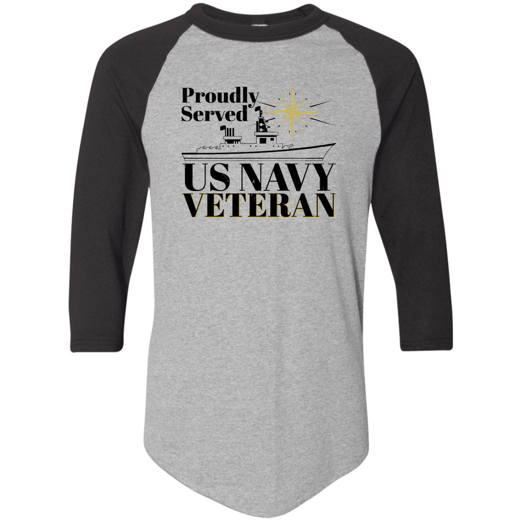 Designs by MyUtopia Shout Out:Proudly Served US Navy Veteran 3/4 Length Sleeve Color block Raglan Jersey T-Shirt,Athletic Heather/Black / S,T-Shirts