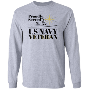 Designs by MyUtopia Shout Out:Proudly Served US Navy Veteran Long Sleeve Ultra Cotton Unisex T-Shirt,Sport Grey / S,T-Shirts