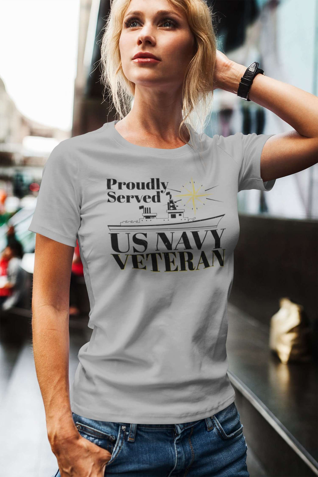 Designs by MyUtopia Shout Out:Proudly Served US Navy Veteran Ultra Cotton  Ladies Round Neck T-Shirt