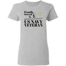 Load image into Gallery viewer, Designs by MyUtopia Shout Out:Proudly Served US Navy Veteran Ultra Cotton  Ladies Round Neck T-Shirt,S / Sport Grey,Ladies T-Shirts