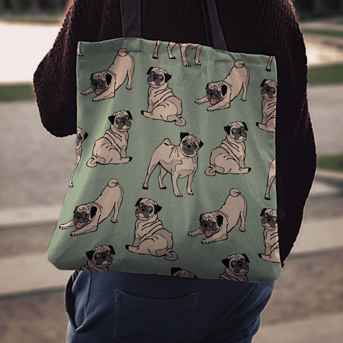 Designs by MyUtopia Shout Out:Pugs Fabric Totebag Reusable Shopping Tote