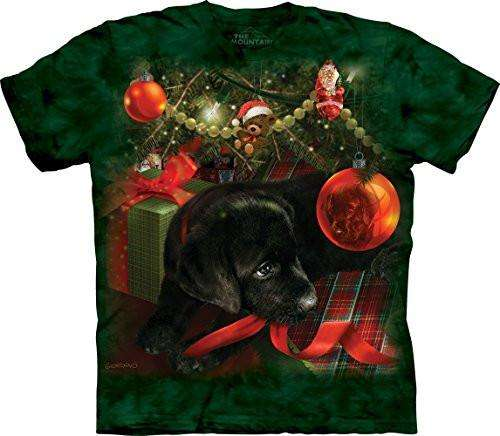 Designs by MyUtopia Shout Out:Puppy Reflections, Christmas Play, Holiday Spirit By The Mountain Tee Shirt,Short Sleeve / Green / Small,Adult Unisex T-Shirt