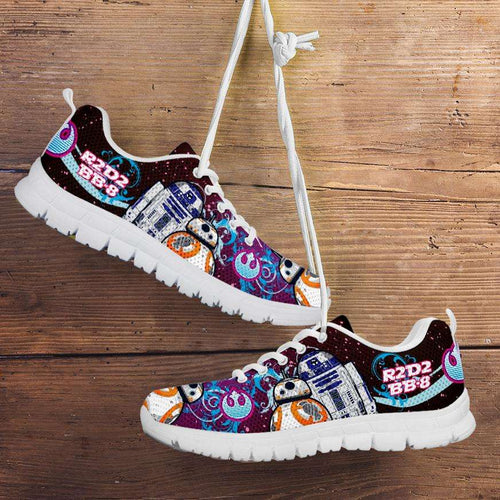Designs by MyUtopia Shout Out:R2-D2 and BB-8 As Friends Blue/Pink Running Shoes,Men's / Mens US5 (EU38) / Blue/Pink,Running Shoes
