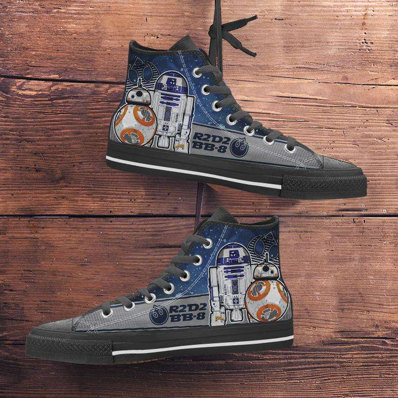 Designs by MyUtopia Shout Out:R2-D2 and BB-8 As Friends Canvas High Top Shoes