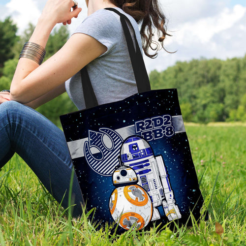 Designs by MyUtopia Shout Out:R2-D2 and BB-8 As Friends Fabric Totebag Reusable Shopping Tote