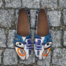 Load image into Gallery viewer, Designs by MyUtopia Shout Out:R2-D2 and BB-8 Friends Casual Canvas Slip on Shoes Women's Flats,Ladies US6 (EU36) / Blue/Grey/White,Slip on Flats