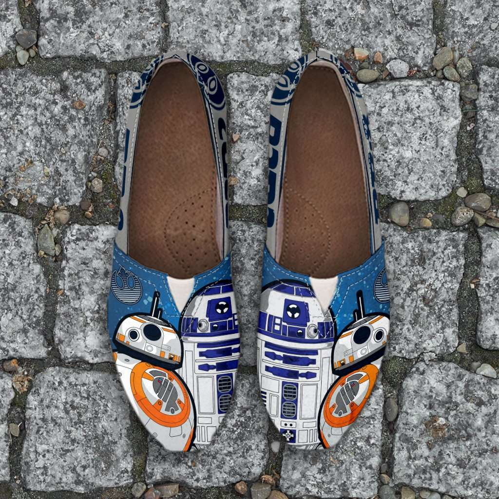 Designs by MyUtopia Shout Out:R2-D2 and BB-8 Friends Casual Canvas Slip on Shoes Women's Flats,Ladies US6 (EU36) / Blue/Grey/White,Slip on Flats