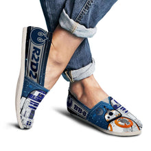 Load image into Gallery viewer, Designs by MyUtopia Shout Out:R2-D2 and BB-8 Friends Casual Canvas Slip on Shoes Women's Flats