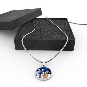 Designs by MyUtopia Shout Out:R2-D2 and BB-8 friends Liquid Glass Keepsake Necklace