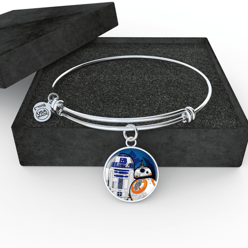 Designs by MyUtopia Shout Out:R2-D2 and BB-8 friends Liquid Glass Keepsake Wire Bracelet,Wire Bracelet / Silver,Necklace