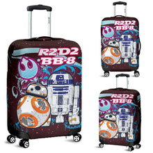 Load image into Gallery viewer, Designs by MyUtopia Shout Out:R2-D2 and BB-8 Friends Luggage Cover Blue / Pink,Carry-on/Cabin/Small / Blue / Pink,Luggage Cover