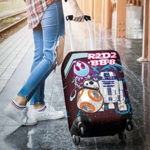 Load image into Gallery viewer, Designs by MyUtopia Shout Out:R2-D2 and BB-8 Friends Luggage Cover Blue / Pink