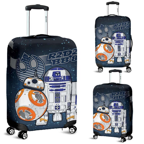 Designs by MyUtopia Shout Out:R2-D2 and Bb-8 Friends Luggage Protector Blue / Grey,Carry-on/Cabin/Small / Blue / Grey,Luggage Cover