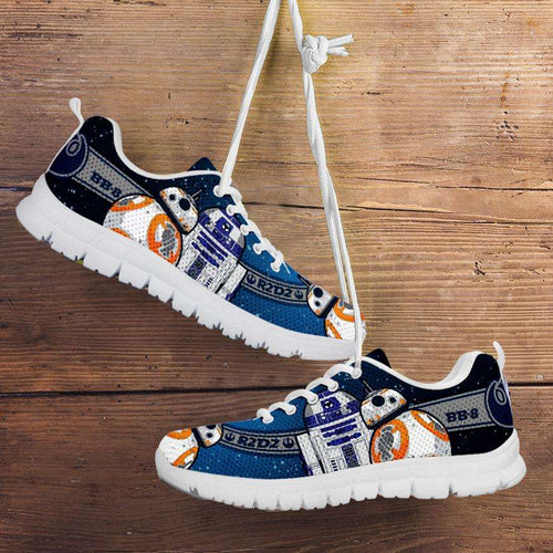 Designs by MyUtopia Shout Out:R2-D2 and BB8 As Friends Running Shoes,Kid's / 11 CHILD (EU28) / Blue,Running Shoes