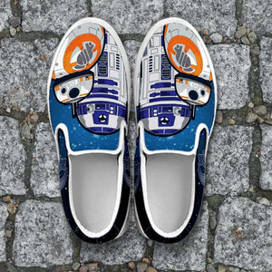 Designs by MyUtopia Shout Out:R2-D2 and BB8 As Friends Slip-on Shoes