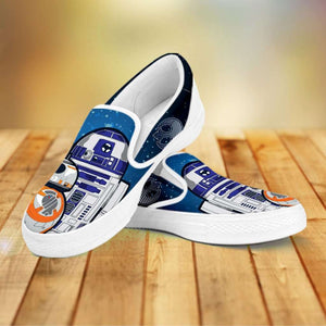 Designs by MyUtopia Shout Out:R2-D2 and BB8 As Friends Slip-on Shoes,Men's / Mens US8 (EU40) / White/Blue/Orange,Slip on sneakers