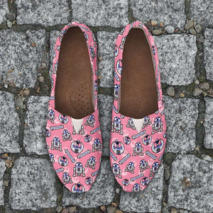 Designs by MyUtopia Shout Out:R2-D2 Beep-Boop Casual Canvas Slip on Shoes Women's Flats,Ladies US6 (EU36) / Pink,Slip on Flats