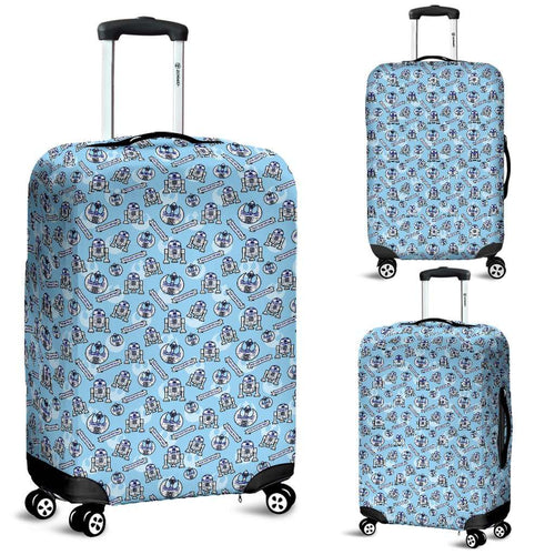 Designs by MyUtopia Shout Out:R2-D2 Bleep Bloop Luggage Protector Cover Blue,Carry-on/Cabin/Small / Blue,Luggage Cover