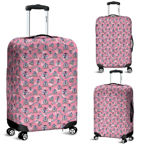 Designs by MyUtopia Shout Out:R2-D2 Bleep Bloop Luggage Protector Cover Pink,Carry-on / Cabin / Small 18-22 in / 45-55 cm / Pink,Luggage Cover