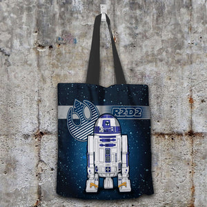 Designs by MyUtopia Shout Out:R2-D2 Blue Grey Fabric Totebag Reusable Shopping Tote