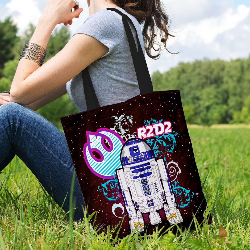 Designs by MyUtopia Shout Out:R2-D2 Blue Pink Fabric Totebag Reusable Shopping Tote