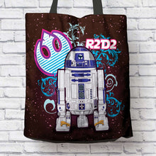 Load image into Gallery viewer, Designs by MyUtopia Shout Out:R2-D2 Blue Pink Fabric Totebag Reusable Shopping Tote