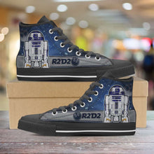 Load image into Gallery viewer, Designs by MyUtopia Shout Out:R2-D2 Canvas High Top Shoes Blue/Grey,Men's / Mens US 5 (EU38) / Blue/Grey,High Top Sneakers