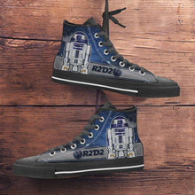 Load image into Gallery viewer, Designs by MyUtopia Shout Out:R2-D2 Canvas High Top Shoes Blue/Grey