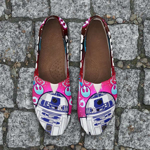 Designs by MyUtopia Shout Out:R2-D2 Casual Canvas Slip on Shoes Women's Flats - Blue / Pink,Ladies US6 (EU36) / Bright Pink,Slip on Flats